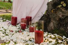 Beautiful wedding set up for the ceremony royalty free stock photos