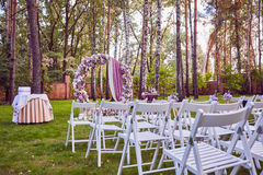 Beautiful wedding set up.  ceremony place in the forest Royalty Free Stock Images