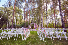 Beautiful wedding set up.  ceremony place in the forest Stock Images