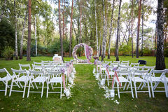 Beautiful wedding set up.  ceremony place in the forest Stock Photo