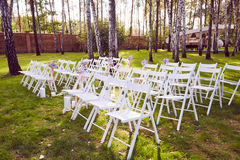 Beautiful wedding set up.  ceremony place in the forest Stock Image