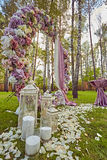 Beautiful wedding set up.  ceremony place in the forest Stock Photography