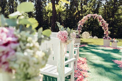 Beautiful wedding set up in a garden Royalty Free Stock Photo
