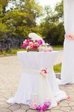 Beautiful wedding set up of table and floral Stock Photography