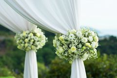 Beautiful wedding set up. Wedding ceremony on green lawn in the Stock Images