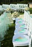 Beautiful wedding set up. Wedding ceremony on green lawn in the Royalty Free Stock Images