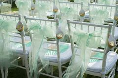 Beautiful wedding set up.Wedding ceremony on green lawn in the Royalty Free Stock Photography