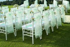 Beautiful wedding set up.Wedding ceremony on green lawn in the Stock Photography
