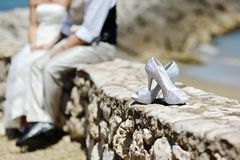 Beautiful wedding shoes Royalty Free Stock Images