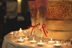 Beautiful Wedding steamware with cake. Beautiful Wedding wineglasses witn cake Royalty Free Stock Image