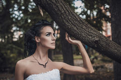 Beautiful wedding style brunette bride woman in wood park royalty free stock photos
