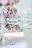 Beautiful wedding table arrangement Stock Images