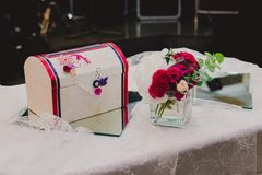 Beautiful wedding table decorated with the bright Stock Image