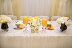 A beautiful wedding table decoration with stylized lemon Royalty Free Stock Images