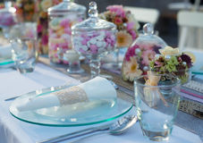 Beautiful wedding table set Stock Image
