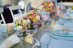 Beautiful wedding table set Royalty Free Stock Photos