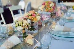 Beautiful wedding table set royalty free stock photos
