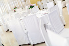 Beautiful wedding tables with decoration Royalty Free Stock Image