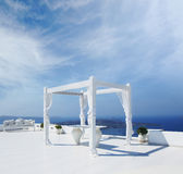 A beautiful wedding tent on Santorini island Royalty Free Stock Image
