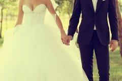 Beautiful wedding theme, holding hands newlyweds Royalty Free Stock Images