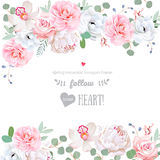 Beautiful wedding vector design frame with flowers. Delicate floral frame arranged from white peony, pink rose, camellia, anemone, orchid, eucalyptus, blue berry Royalty Free Stock Photo