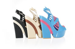 Beautiful wedge shoes collections Royalty Free Stock Photography