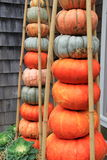Beautiful welcome with with several pumpkins stacked at doorstep Royalty Free Stock Photos
