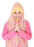 Beautiful welcoming girl wearing hijab smiling Royalty Free Stock Images