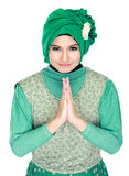 Beautiful welcoming girl wearing hijab smiling Stock Photos