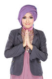 Beautiful welcoming girl wearing hijab smiling Stock Images