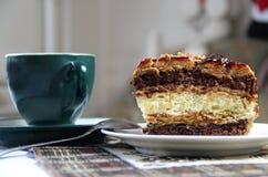 Beautiful glazed caramel cake Stock Photo