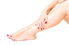 Beautiful well-groomed female legs. With red pedicure isolated on white background Stock Image