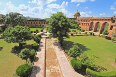 Charbagh Garden At Jaigarh Fort. Beautiful well tended Charbagh Garden at Jaigarh Fort where the royal family resided Royalty Free Stock Photo