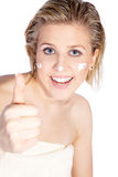 Beautiful wellness face with cream Royalty Free Stock Image