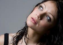 Beautiful wet brunette Stock Photos