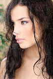 Beautiful wet girl in tropical environment Royalty Free Stock Photography