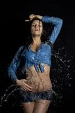 Beautiful wet girl in water Stock Photography