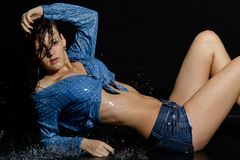 Beautiful wet girl in water Royalty Free Stock Images