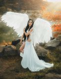 A beautiful white archangel. Descended from heaven. A girl in a sexy suit with huge white wings. Artistic Photography Stock Photos