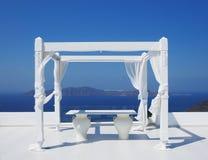 Beautiful wedding tent on Santorini island Royalty Free Stock Photography