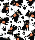 Beautiful white background with black cat pattern Royalty Free Stock Photo