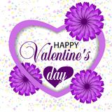 Beautiful white background Valentines day with violet heart and paper purple flowers and confetti. Vector. Illustration Vector Illustration
