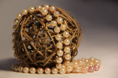 Beautiful white ball and beads Royalty Free Stock Photos