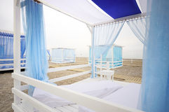 Beautiful white and blue tent Royalty Free Stock Photo