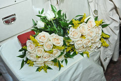 Beautiful white bouquets of bright flowers Stock Image