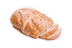 Ð¡rispy healthy white bread. Isolated. royalty free stock image