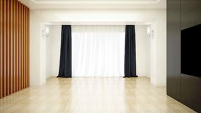 Bright room decorated with white clean curtain and wooden parquet floor. Beautiful white and bright room with sun light passing through, decorated with white Royalty Free Stock Images