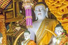 Beautiful white Buddha images inside the viharn of Wat Inthakhin Sadue Muang, principal Buddha image named Luang Pho Khao. Wat Int. Hakin is temple where the royalty free stock images