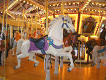Beautiful White Carousel Horse. Hand carved carousel horse at the Riverfront Park, Salem, Oregon Royalty Free Stock Photos