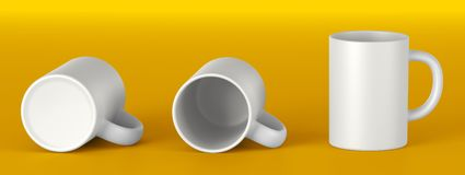 White ceramic mug. Mock up Template 3D stock images